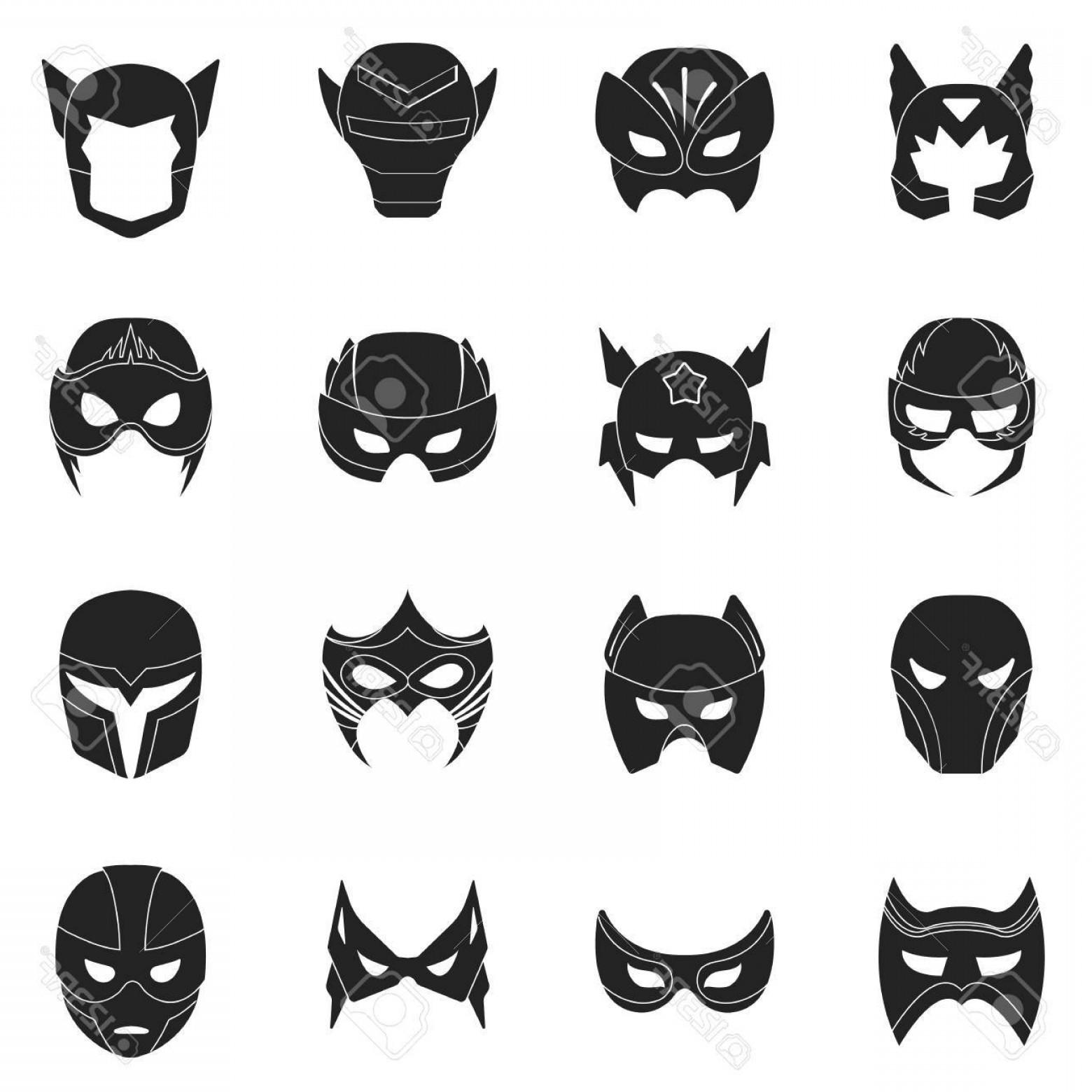 1560x1560 Photostock Vector Superhero Mask Set Icons In Black Style Big