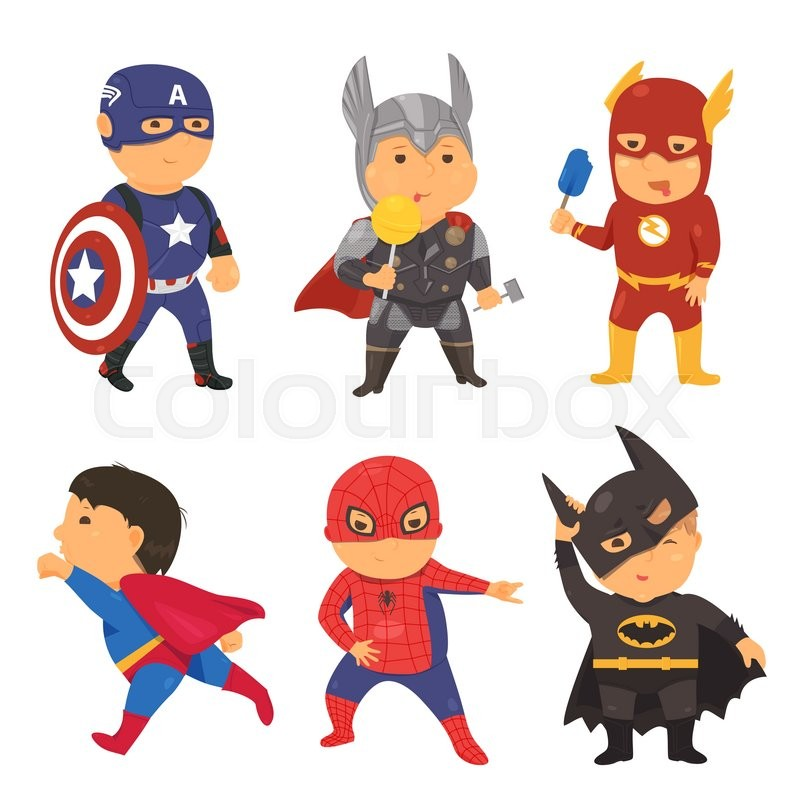 800x800 Cartoon Superhero Costume Kids. Vector Illustration For Comic