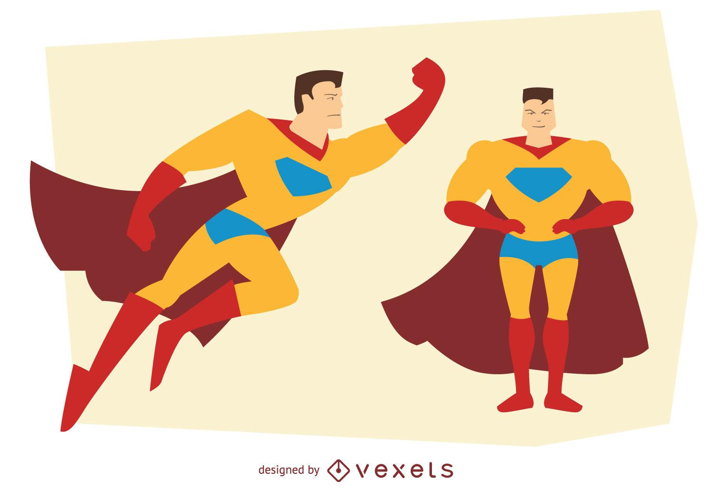 1500x1031 Man Superhero Posing Illustrations