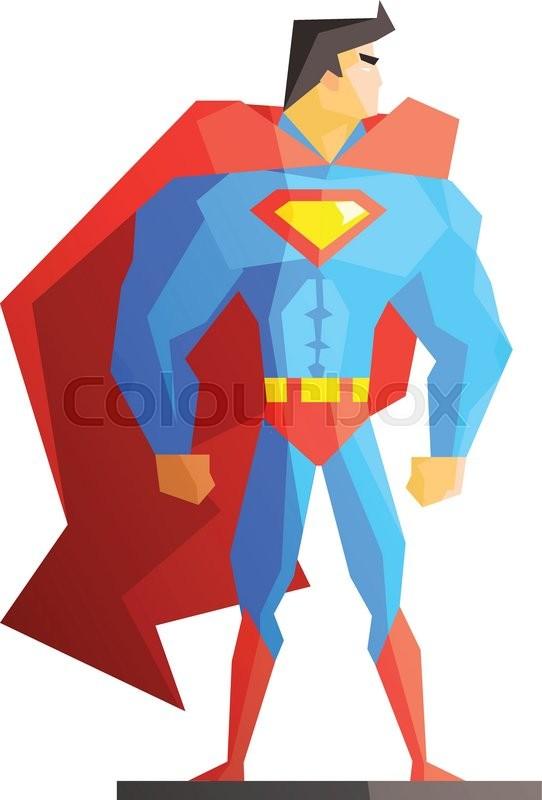 542x800 Superhero Vector Illustration On White Background, Flat Style