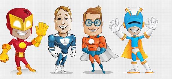594x274 Free Superhero Vector Character Set 1 Psd Files, Vectors
