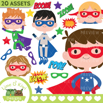 350x350 Superhero Boys 2 Clipart Instant Download Vector Art By Lime And