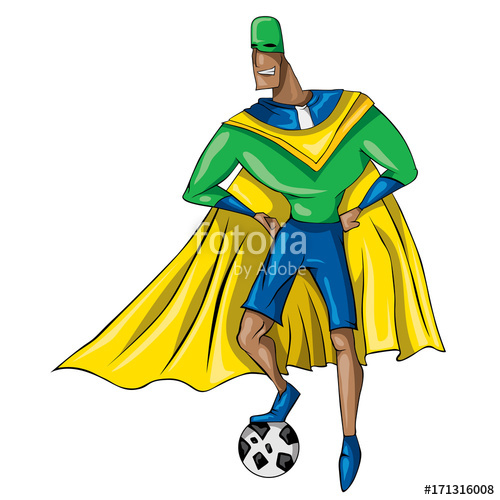 500x500 Brazilian Super Hero, Soccer Player, Brazil Flag (Vector Art