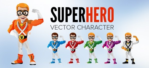594x274 Smiling Superhero Vector Character Free Vector In Adobe