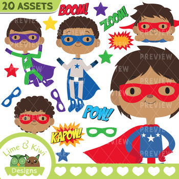 350x350 Superhero Boys 1 Clipart Instant Download Vector Art By Lime And