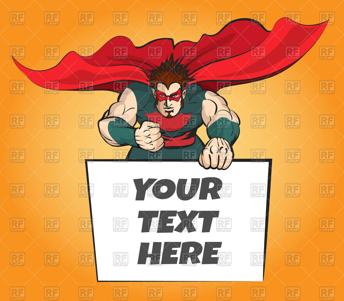 1200x1050 Superhero In Brave Pose Holding Message Board For Your Text