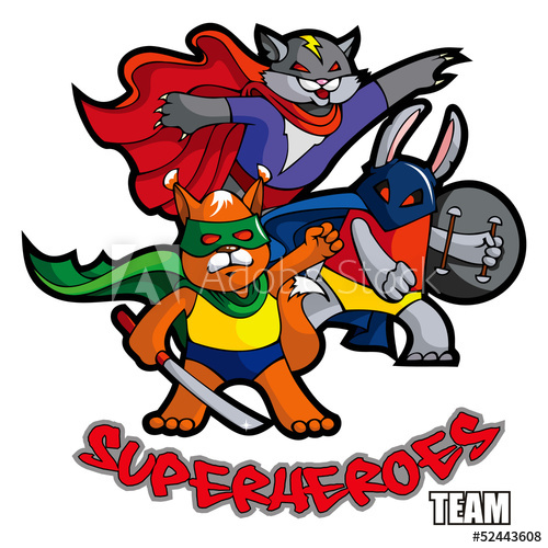 500x500 Funny Animals Superheroes, Vector Illustration