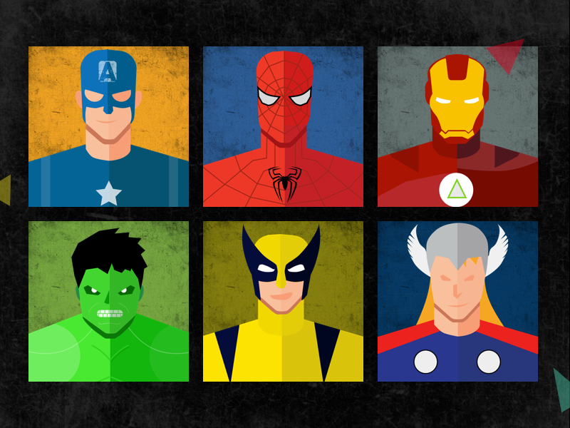 800x600 Marvel Superheroes Vector Design By Prateek Dave