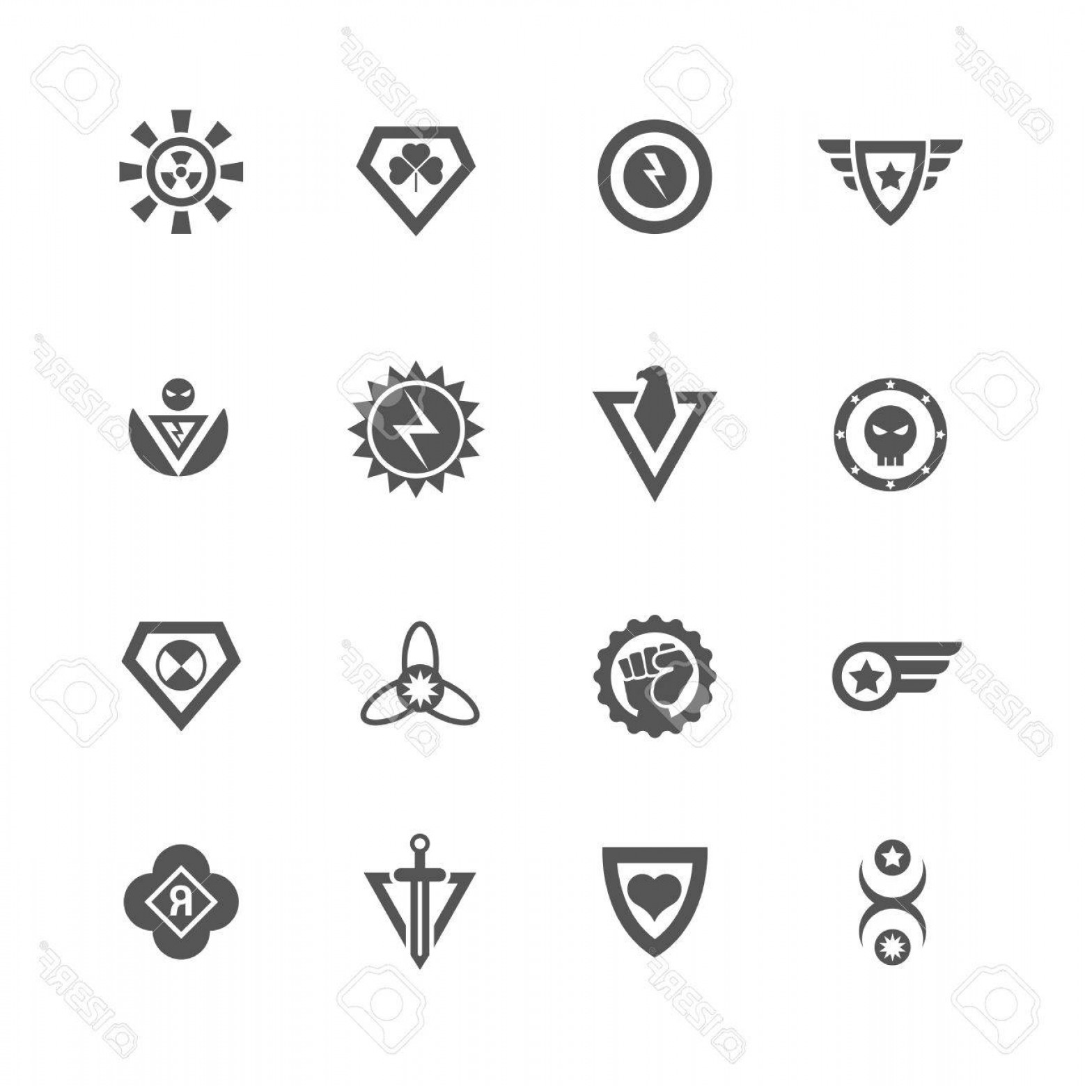 1558x1560 Photostock Vector Superheroes Vector Badges Protect And Power
