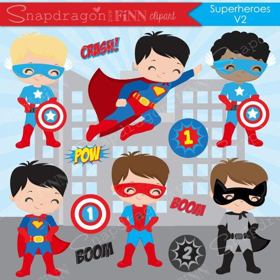 570x570 Superhero Boys Clipart Hero Clipart Superhero Vector Etsy