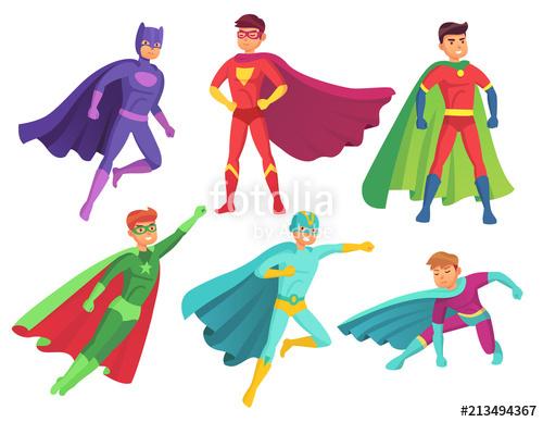 500x388 Superhero Man Characters. Cartoon Muscular Hero Character In
