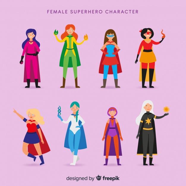 626x626 Female Superhero Collectio Vector Free Download