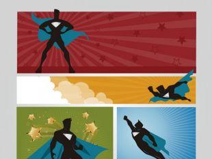 310x233 Superhero Cartoon Banners Free Vector Free Vectors Ui Download
