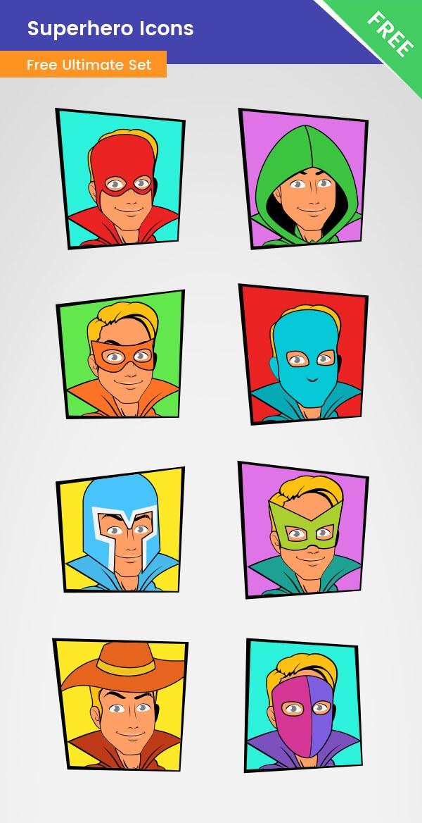 600x1168 Superhero Icons Vector