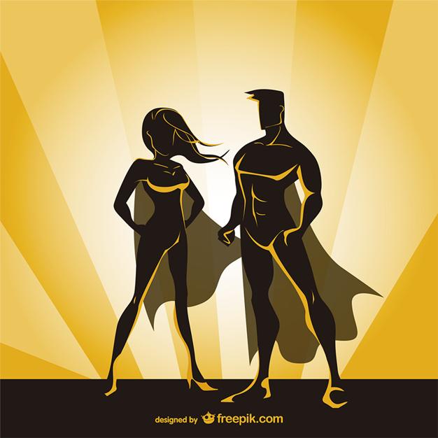 626x626 Superhero Couple Vector Free Download