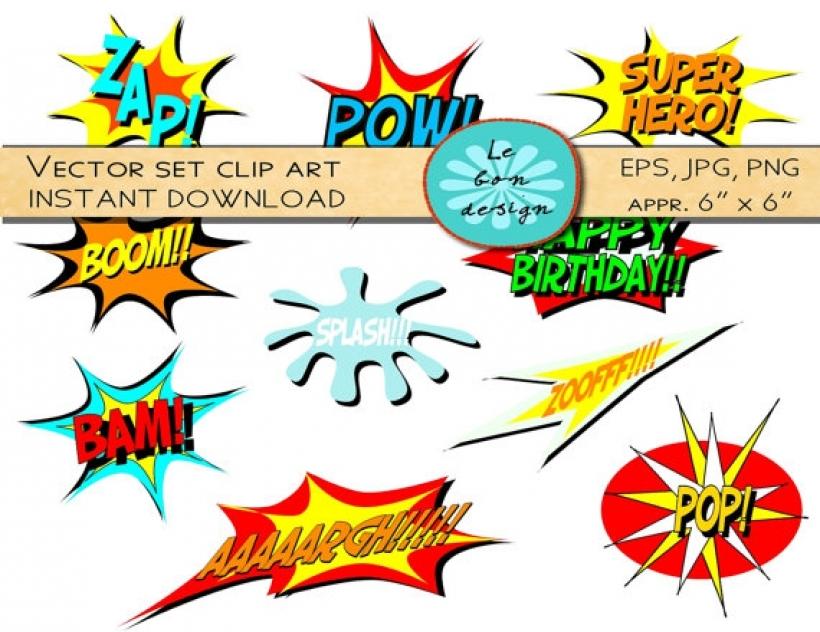 820x632 Digital Clip Art Vector Comic Book Superhero Text Lebondesign In