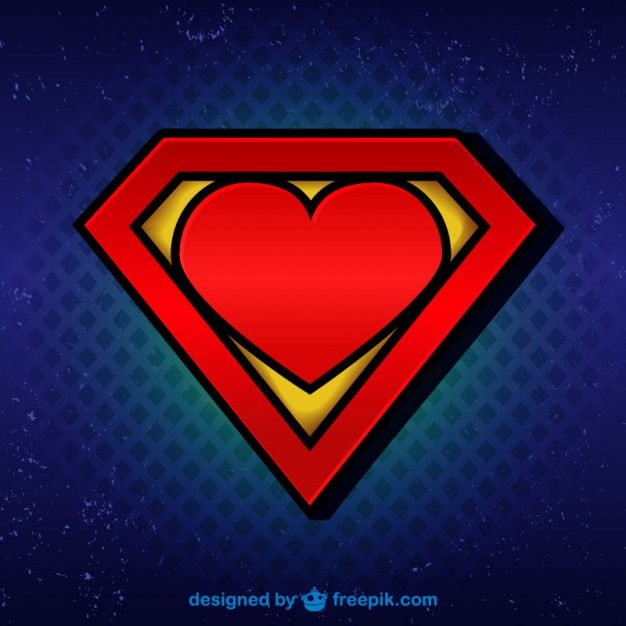 626x626 Superman Logo With Heart Vector Free Download