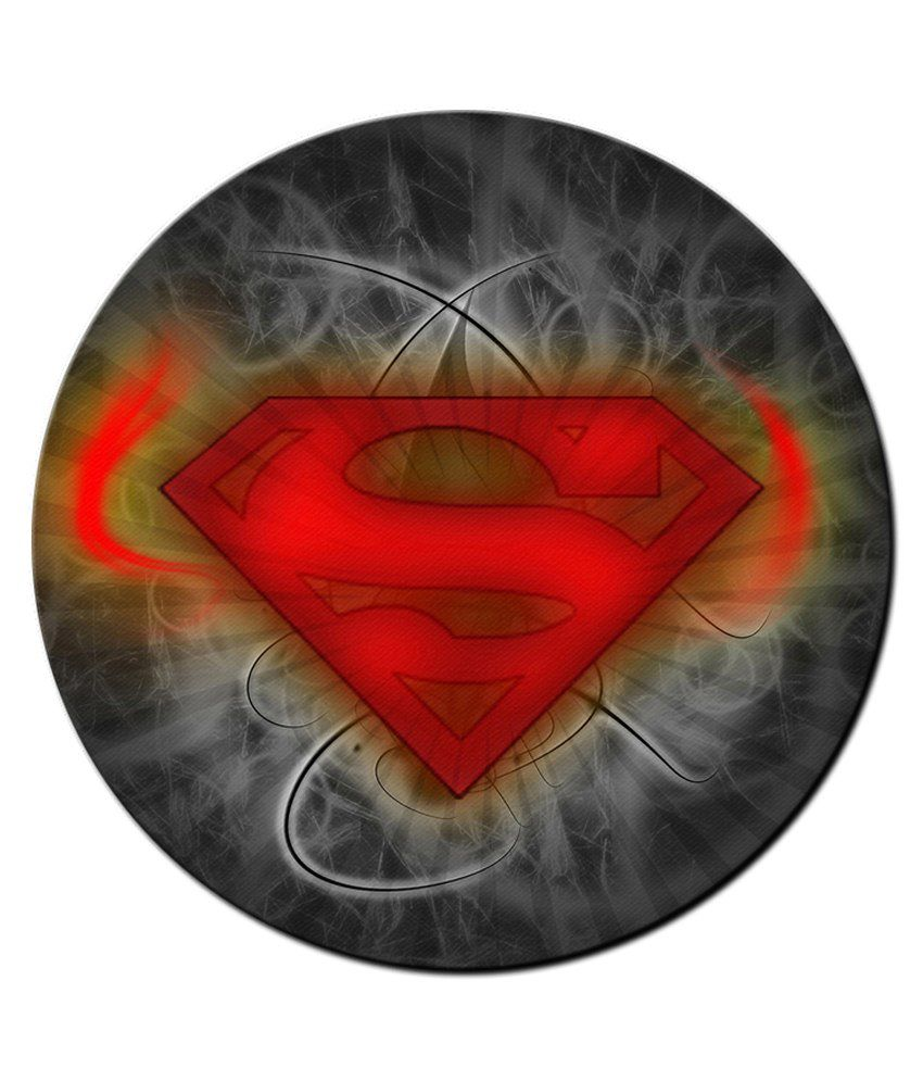 850x995 Shopmantra Multicolour Superman Vector Logo Art Round Mousepad