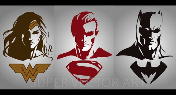 570x308 Batman Superman Wonder Woman Vector Clipart Silhouette Svg Etsy