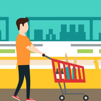 410x409 People In Supermarket. Vector Flat Illustration. Grocery Store