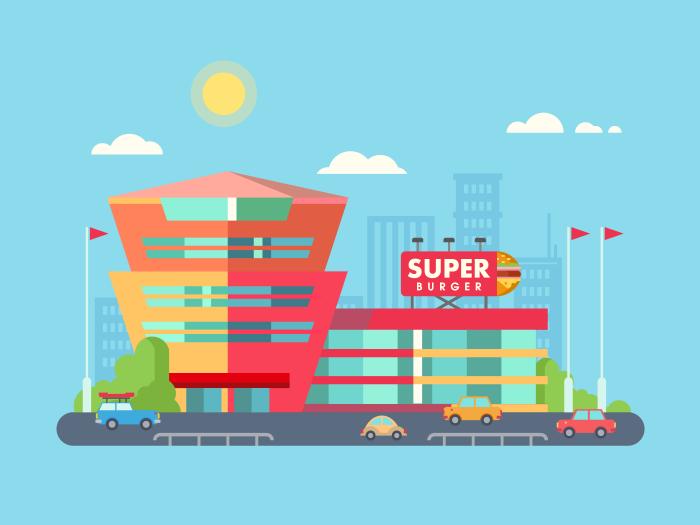 700x525 Supermarket Building Illustration