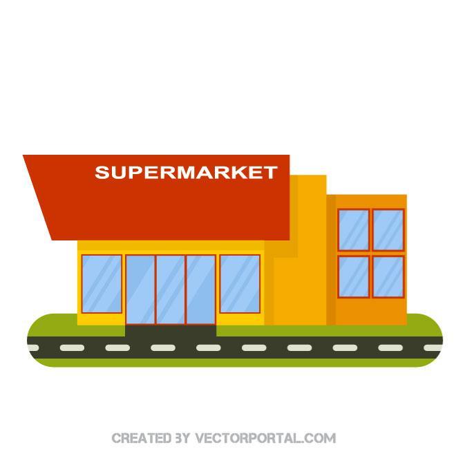 660x660 Supermarket Building Vector Image