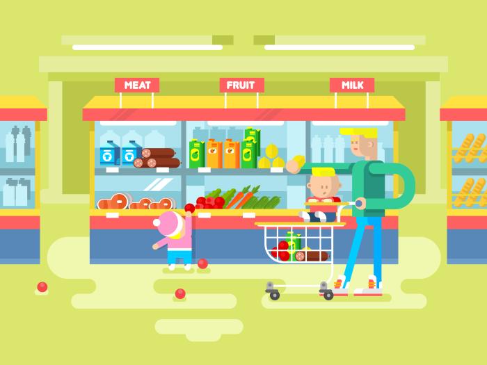 700x525 Supermarket Design Flat Illustration