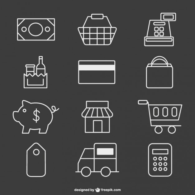 626x626 Supermarket Icons Vector Free Download