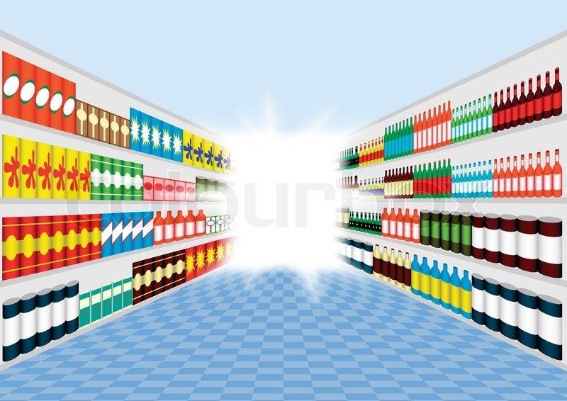 800x566 Supermarket Shelves Corridor Stock Vector Colourbox