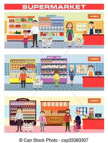 355x470 Family In Supermarket. Color Illustration Of A Family Shopping In