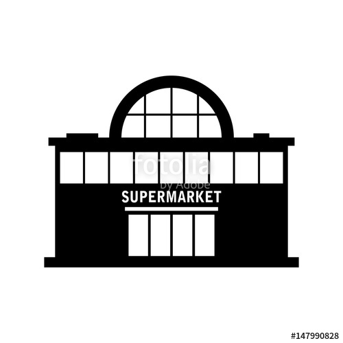 500x500 Supermarket Vector Icon On White Background Stock Image And