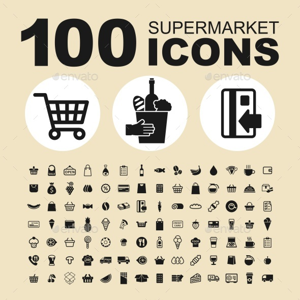 590x590 Supermarket Vector Icons By Kurdanfell Graphicriver