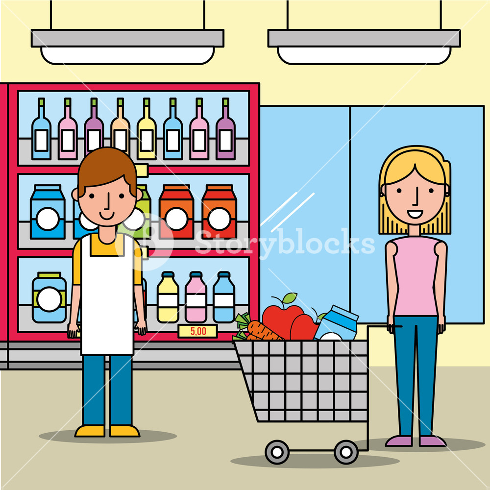 1000x1000 Salesman And Customer Woman With Shopping Cart In Supermarket