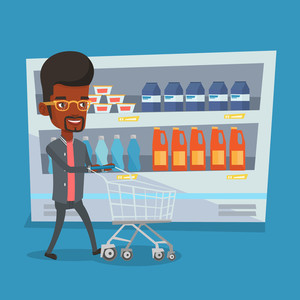 300x300 Supermarket Shopping Cart With Groceries Vector Illustration