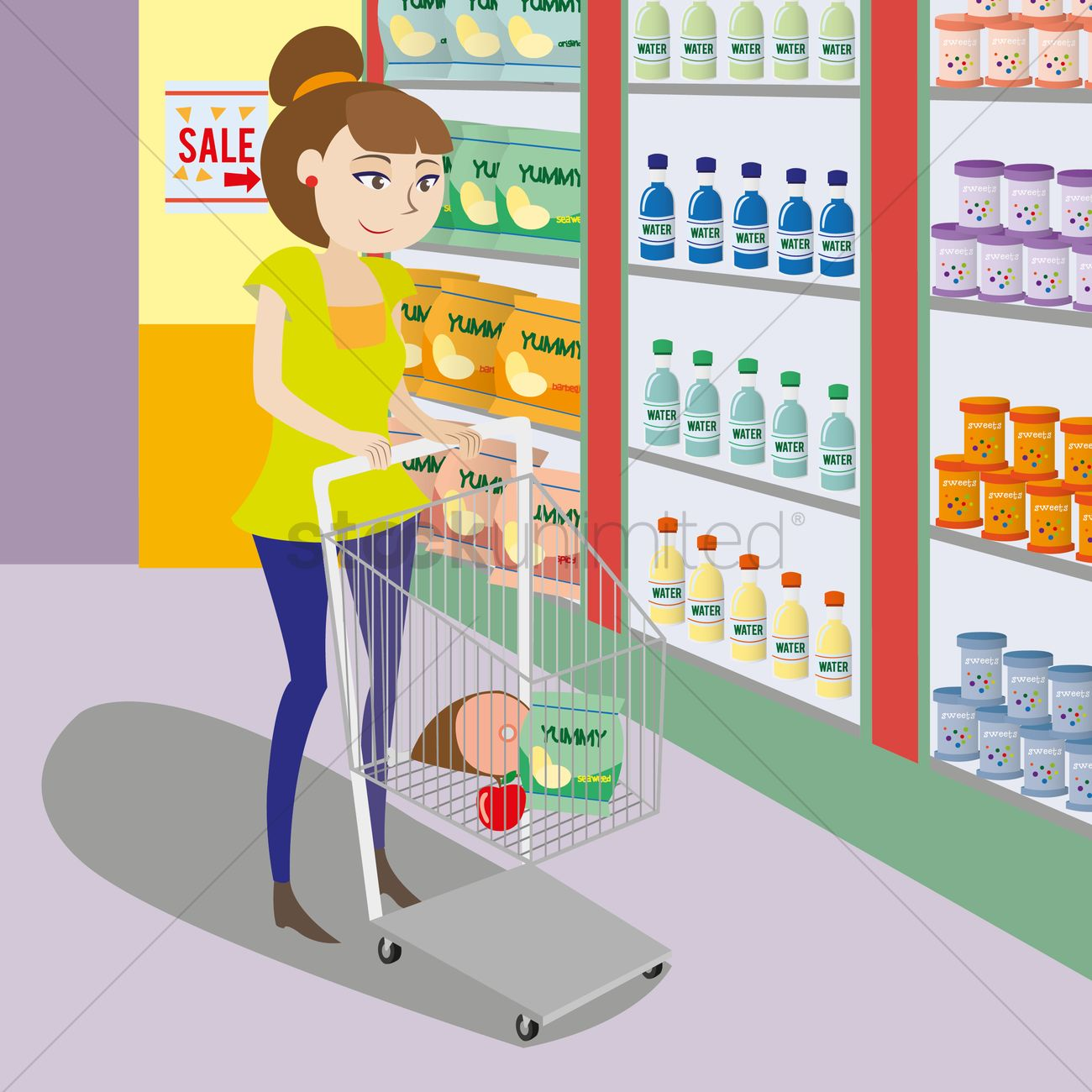1300x1300 Free Woman Choosing Products In Supermarket Vector Image