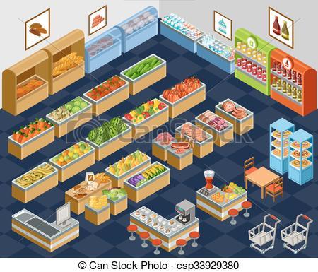 450x385 Isometric Supermarket. Vector Illustration Of A Supermarket. Sale