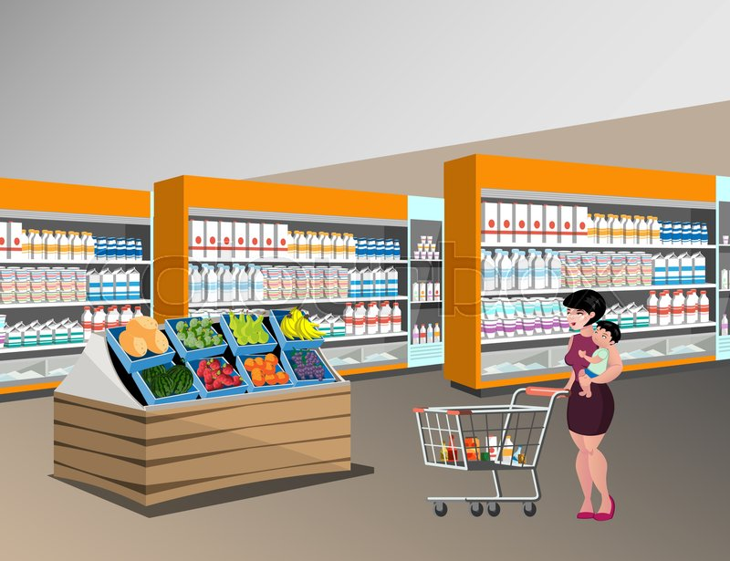 800x615 Mom Shopping With Kids. Woman In Supermarket. Stock Vector