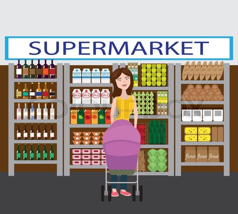 800x720 Mother With Her Baby In The Stroller. Shopping In Supermarket