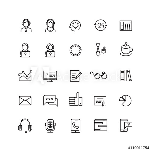 500x500 Support Service, Telemarketing, Contact Us Vector Line Icons
