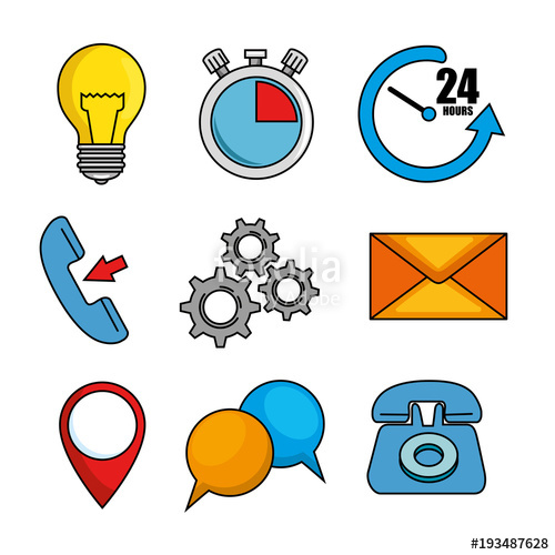 500x500 Set Of Call Center Support Icon Vector Illustration Graphic Design