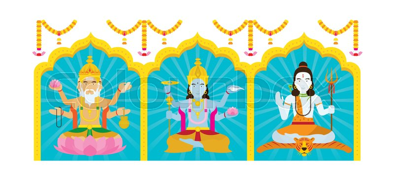 800x367 The Trinity Of Supreme Divinity In Hinduism Stock Vector Colourbox