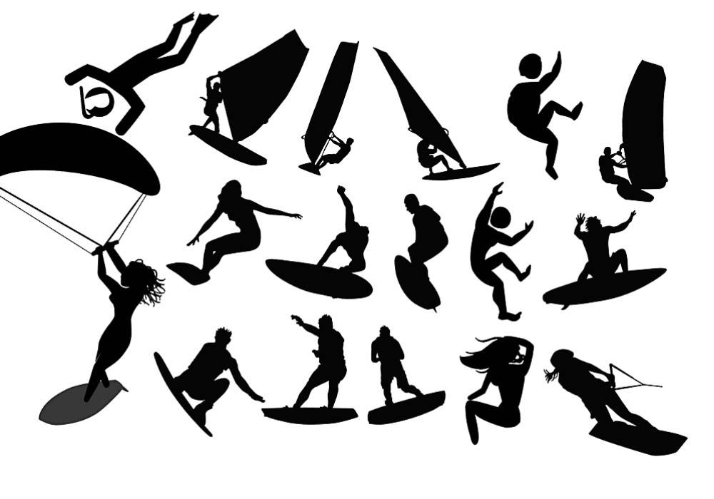1000x700 Silhouettes Surf Vector Free Download Vectorpicfree (Free Ai Eps)