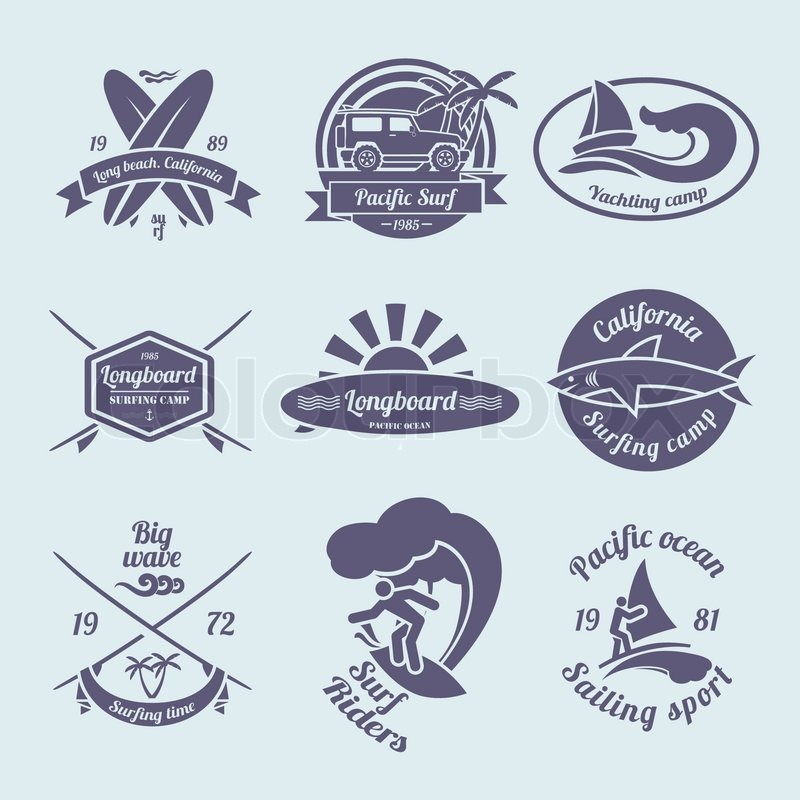 800x800 Beach Longboard Surfing Summer Yachting Labels Black Set Isolated
