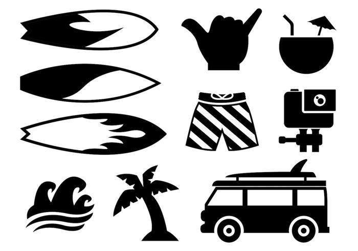 700x490 Surfing Icons Vector