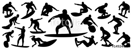 500x188 Surfing Silhouette, Vector Set Of Surfer Silhouette, Surf Vector