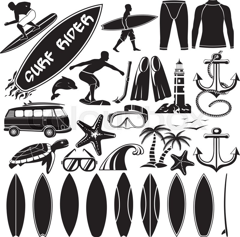 800x792 Vector Set Of Surfing Design Elements