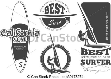 450x323 Vintage Surfing Vector Labels. Vintage Surfing Labels, Logos And
