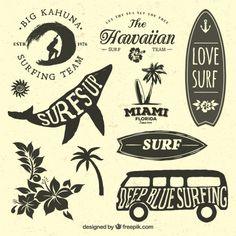 236x236 Vintage Surf Board With Type