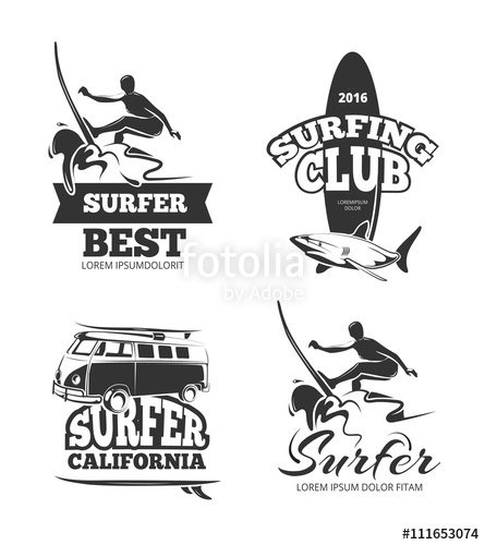 445x500 Vintage Black Surf Graphics, Emblems And Labels. Logo Surfing