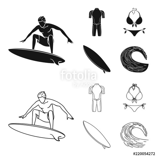 500x500 Surfer, Wetsuit, Bikini, Surfboard. Surfing Set Collection Icons